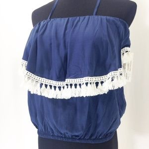 Ocean Drive Blue Tank with Fringe M